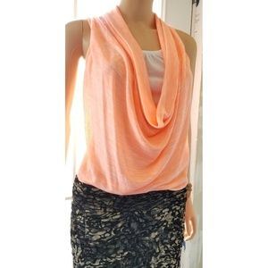 Almost Famous Cowl Neck, Sleeveless Top, Coral, S
